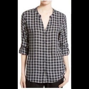 Soft Joie Plaid Shirt Medium Long Sleeve V Neck